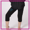 NYTBC Bling Rollover Capri Leggings with Rhinestone Logo