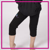 Ignite Bling Rollover Capri Leggings with Rhinestone Logo