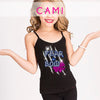 GlitterStarz Bling Basics Cami Tank Top with custom Team Rhinestone Logo