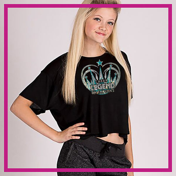 60aaa1efaabf6 Cheer Legend Champions Bling Flowy Crop Top with Rhinestone Logo -  Glitterstarz