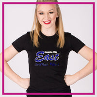Fitted-Tshirt-lincoln-way-east-GlitterStarz-Custom-Rhinestone-Bling-Apparel-for-Cheer-and-Dance
