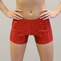 GlitterStarz custom basic hot shorts red for individual or team cheer dance