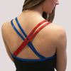 criss cross back red blue shimmer tank practicewear glitterstarz custom bling