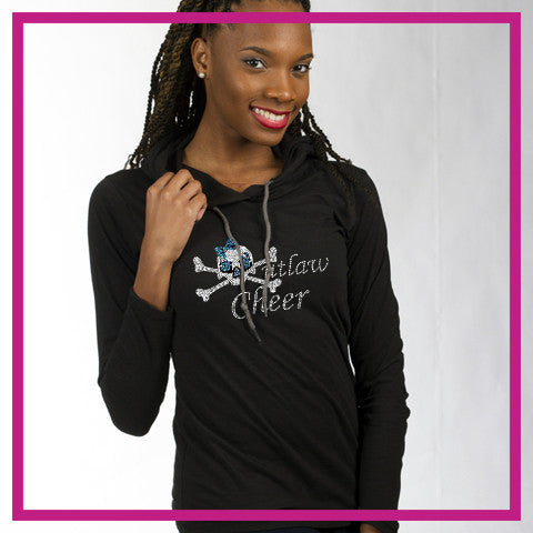 Outlaw Cheer Bling Lightweight Hoodie with Rhinestone Logo