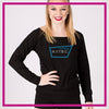 NYTBC Bling Long Sleeve Lace Back Shirt with Rhinestone Logo