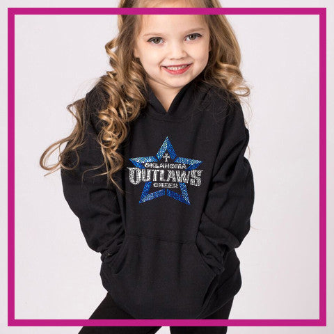 Oklahoma Outlaws Bling Pullover Hoodie with Rhinestone Logo