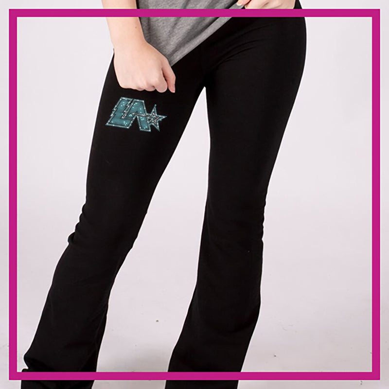 2df48351848f4 Lightning Allstars Bling Yoga Pants with Rhinestone Logo - Glitterstarz