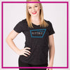 NYTBC Bling Sparkle Tee with Rhinestone Logo