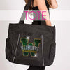 glitterstarz custom bling tote black with rhinestone team logo for cheerleading and dance
