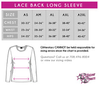 AA Stagg Orchesis Bling Long Sleeve Lace Back Shirt with Rhinestone Logo