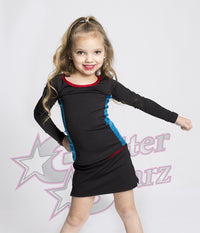 glitterstarz morgan bravado mini set custom rhinestone uniform with metallic stripes and skirt for cheerleading and dance