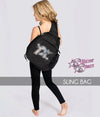 glitterstarz rhinestone sling bag black with bling logo for cheerleading dance teams