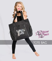 glitterstarz custom bling tote bag black with rhinestone team logo for cheerleading and dance