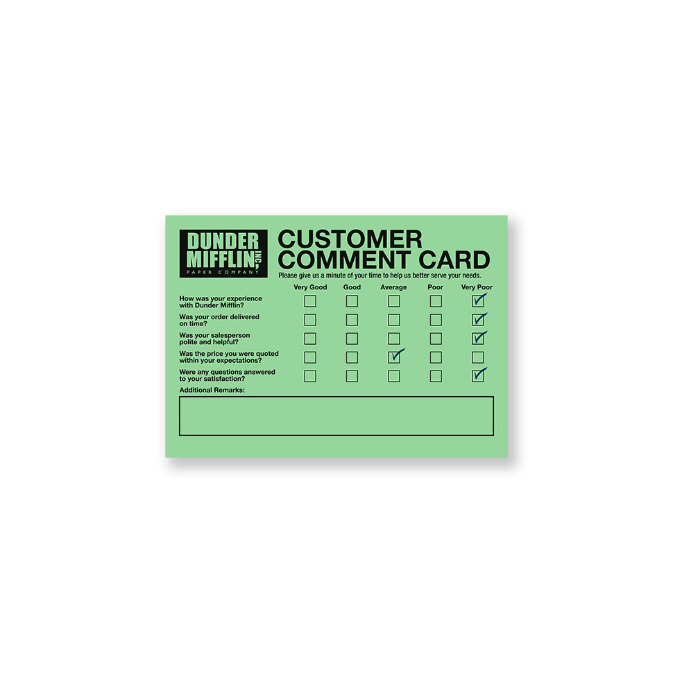 Customer Comment Card Set The Office