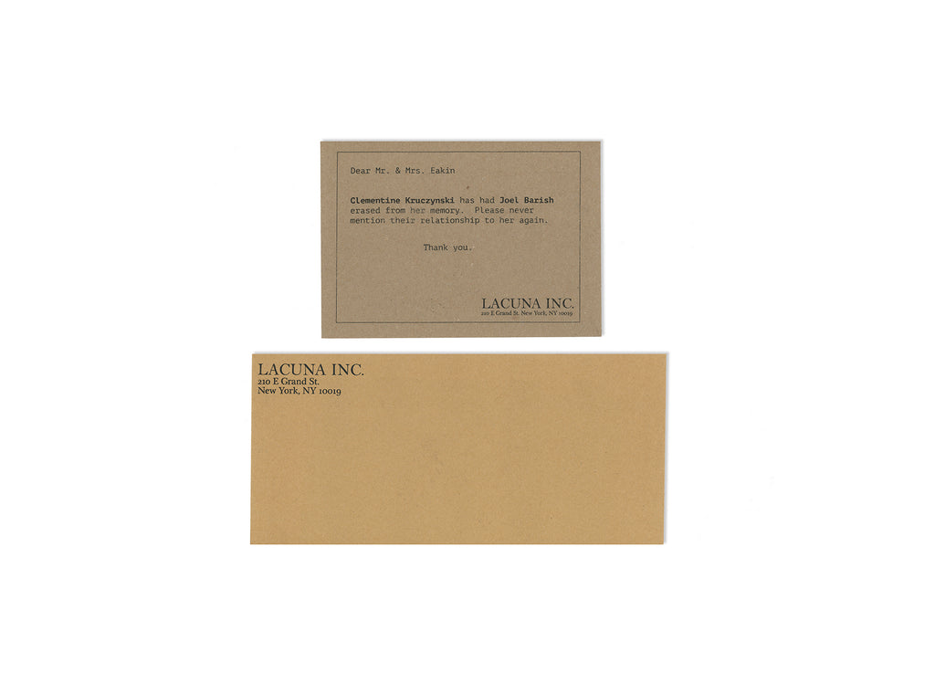 Lacuna Inc. Letter And Envelope Set Eternal Sunshine of the Spotless Mind