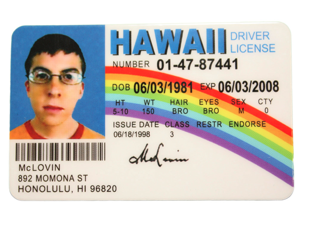 McLovin Hawaii License Fake ID Superbad - Replica Prop Store