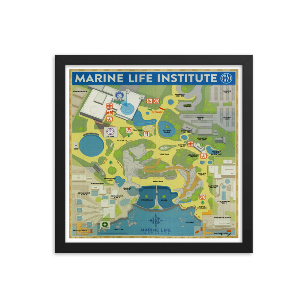 Marine Life Institute Map Framed Poster Finding Dory