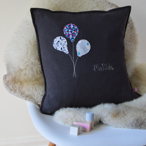 Personalised New Baby Charcoal Linen Cushion - Handmade Poshyarns