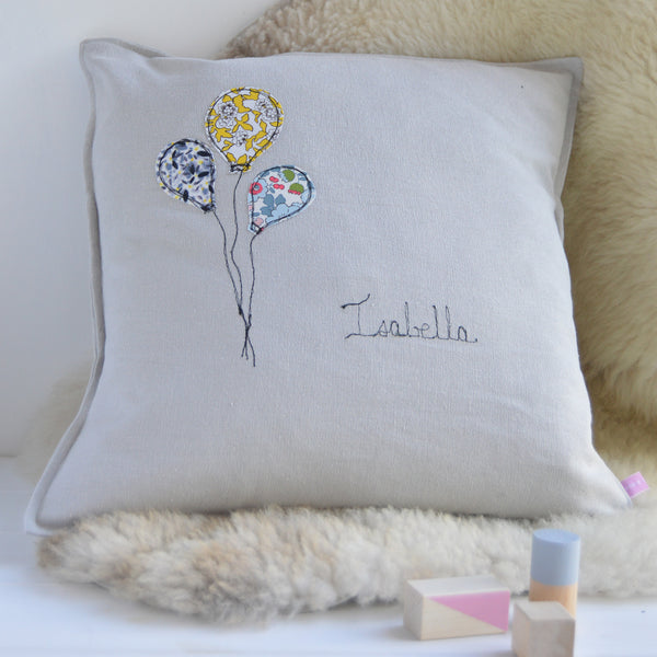 Personalised Balloon Nursery Cushion - Handmade Poshyarns