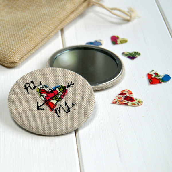 Personalised Love Heart Mirror - Handmade Poshyarns