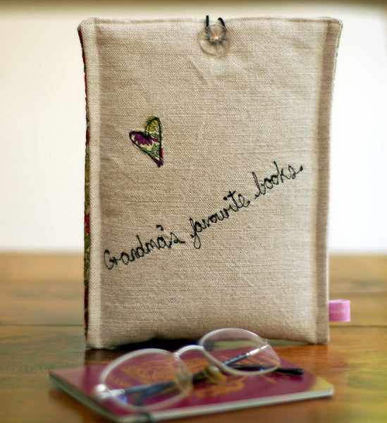 Personalised Linen and Liberty Print Kindle Case - Handmade Poshyarns