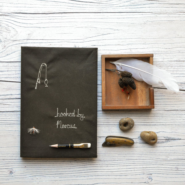 Oilskin 'Hooked by' Personalised Notebook - Handmade Poshyarns