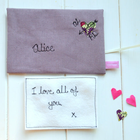Personalised Lilac Linen Love Note - Handmade Poshyarns