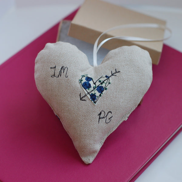 Personalised Love Heart Decoration - Handmade Poshyarns