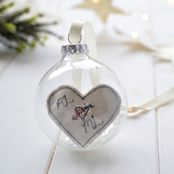 Love heart glass bauble decoration