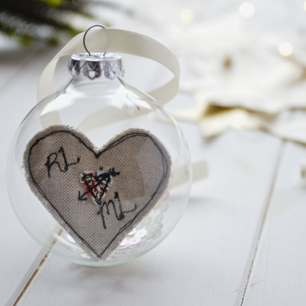 Personalised Love Heart Bauble For Couple - Handmade Poshyarns