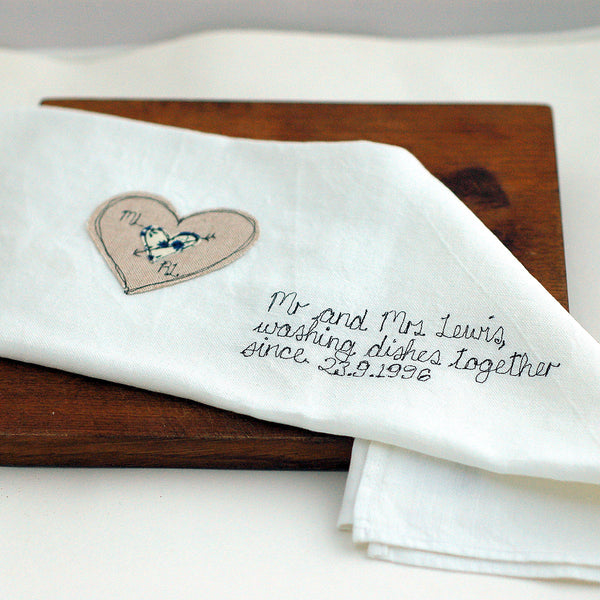 Personalised Mr and Mrs Tea Towel - Handmade Poshyarns