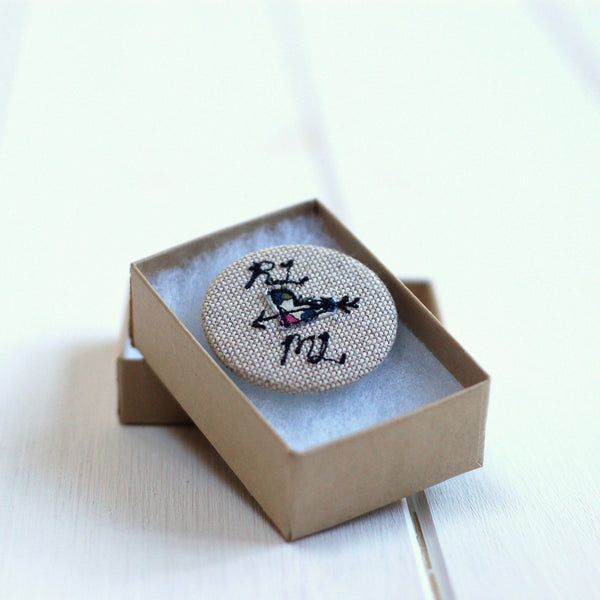 Love Heart Badge - Handmade Poshyarns