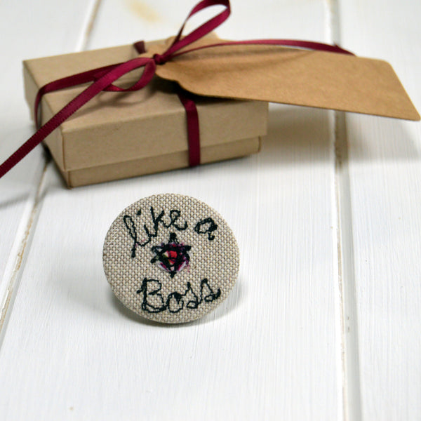 Like A Boss Badge - Handmade Poshyarns