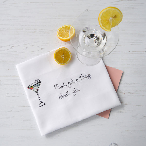 Personalised 'Got A Thing About Gin' Tea Towel - Handmade Poshyarns