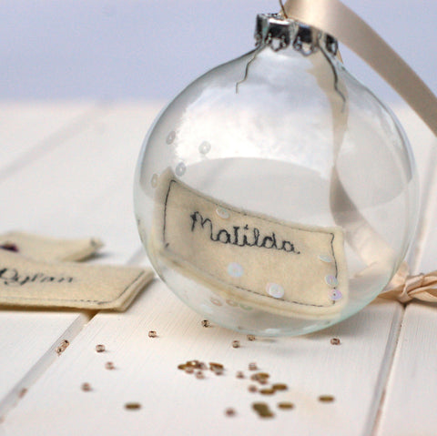 Personalised Glass Bauble - Handmade Poshyarns