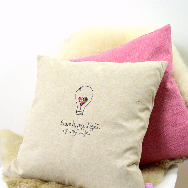 Personalised Light Bulb Cushion - Handmade Poshyarns