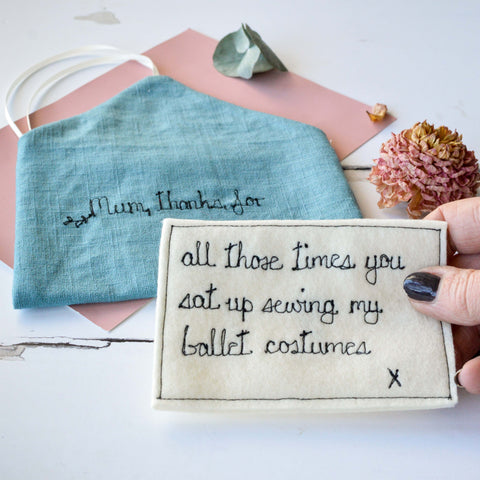 Linen Thank You Note For Mum - Handmade Poshyarns