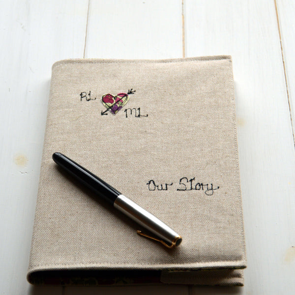 """Our Story"" Personalised Linen Journal - Handmade Poshyarns"