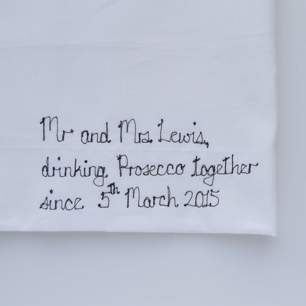 "Personalised Mr and Mrs ""Drinking Prosecco Together"" Tea Towel - Handmade Poshyarns"