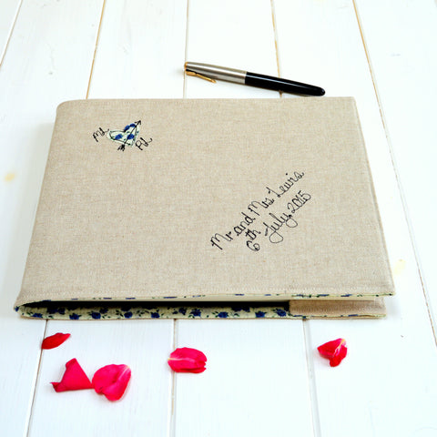 Personalised Linen Wedding Guest Book - Handmade Poshyarns