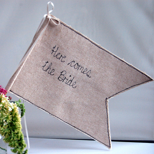 Here Comes The Bride Wedding Flag - Handmade Poshyarns