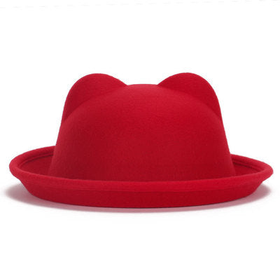 Red Felt Bowler Pussy Ears Hat