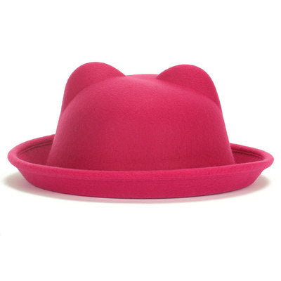 Bright Pink Felt Bowler Pussy Ears Hat