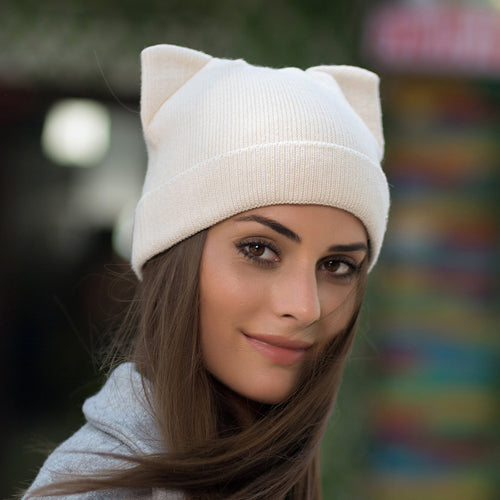 Wool Knit Pussy Ears Beanie - Additional Colors Available
