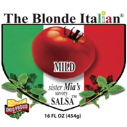 label for mild sister mia's savory salsa