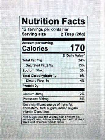 Nutrition label for roma classic vinaigrette