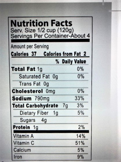 Premio Simmer Sauce Nutrition Facts