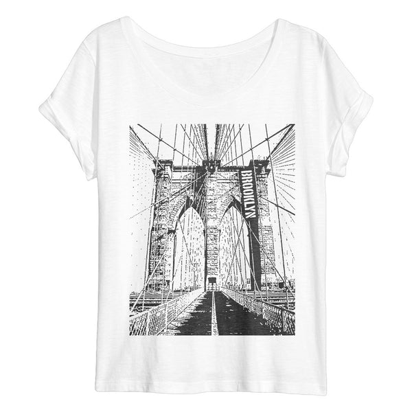 BROOKLYN Flowy Women's T-Shirt (White Slub)