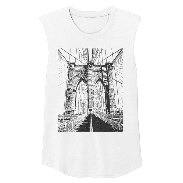 BROOKLYN Unisex Muscle Tee (White)