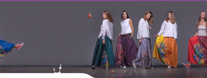 "Four girls in bright long avant-garde skirts emerald purple gray and yellow. Squareroot5 ""Samurai girl"" stile"